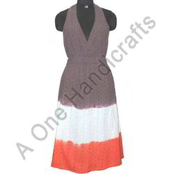 Casual Open Shoulder Hand Tie Dyed Cotton Dress