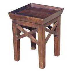 Top Tray Stool with Cross Wooden Strips Sides