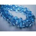 Deep Sky Blue Topaz Faceted Tear Drops Briolettes
