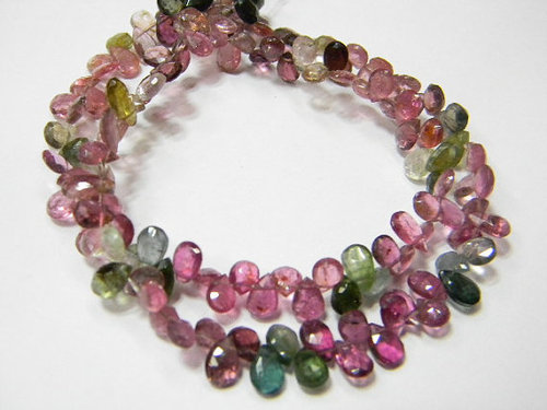 Multi Tourmaline Faceted Pear Briolettes