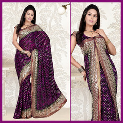 Purple Viscose Saree With Blouse (111)