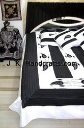 B&W Hand Embroidered Silk Bedspread Set