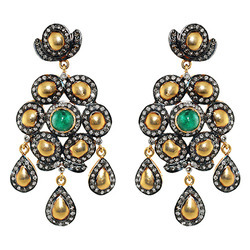 Emerald Pave Diamond Earrings