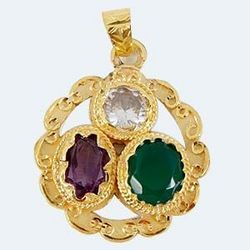 Golden Plating Gems Pendant For Gemini