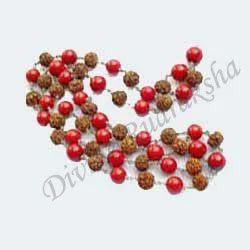 Rudraksha Coral Beads - Gemstone Mala In Silver
