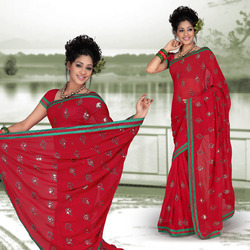 Salsa Red Faux Georgette Saree With Blouse