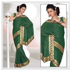 Forest Deep Green Viscose Saree With Blouse (218)