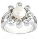 Floral Pearl Silver Ring