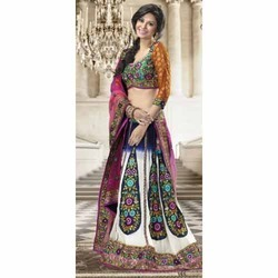 Multi Colored Lehenga with Pink Chunri
