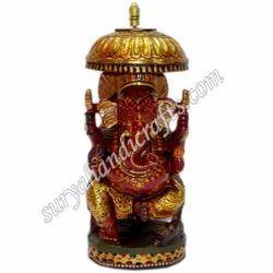 Wooden Painting Chatri Ganesh