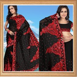 Sable Black Faux Georgette Saree With Blouse