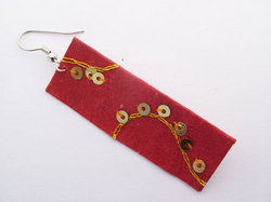 Crushed Red Hand Made Paper Earrings