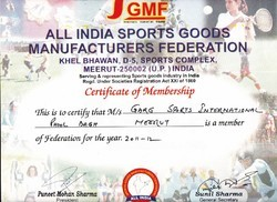 All india Sports Goods Manufacturers Federation Certificate