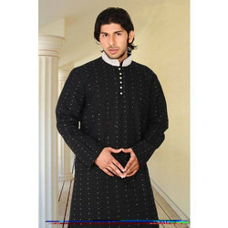 Pure Silk Black Kurta