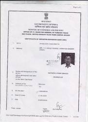 Certificate Of Importer-Exporter