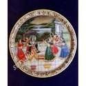Marble Plate With Krishna Painting