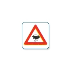 Slippery Road Sign Board
