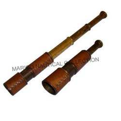 Hand Held Leather / brass Telescope