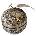 apple shape- white metal jewelry box