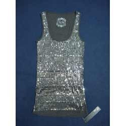 Ladies Sequin Ribbed Top