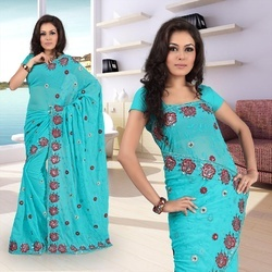 Cool Sky Blue Faux Georgette Saree With Blouse