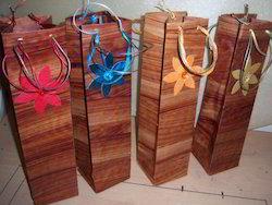 Tree Bark Handmade Paper Wine Bottle Bag