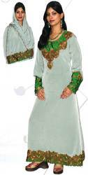 Light Green Impression Abaya With Hijab