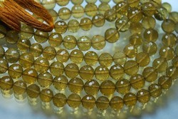 Beer Quartz Micro Faceted Round Rondelles