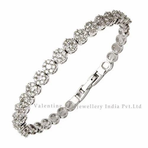 Studded White Gold Diamond Bracelet