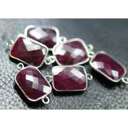 925 Sterling Silver Red Ruby Faceted Silver Connector