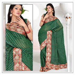 Forest Deep Green Viscose Saree With Blouse (220)