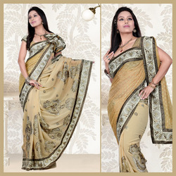 Beige Faux Georgette Saree With Blouse (115)