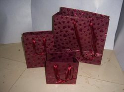 Red Heart Foil Printed Handmade Paper Bags