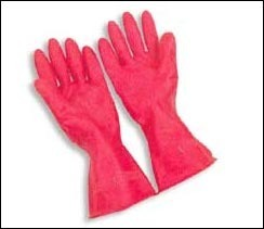 Orange and Black Rubber Gloves