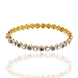 Pave Diamond Rose Cut Gemstone Ruby Gold Bangle Jewelry
