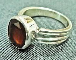 Natural Hessonite Gomed Silver Ring