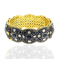 Gemstone Sapphire Rose Cut Pave Diamond Gold Bangle