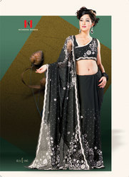 Fancy Beads Stone Work Net Patch Sari