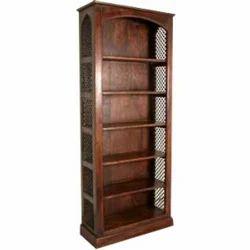 Half Round Shape Bookcase With Iron Mesh