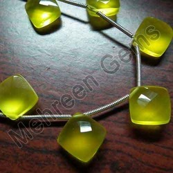 Yellow Chalcedony Faceted Cushion