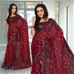 Deep Maroon Faux Georgette Saree With Blouse