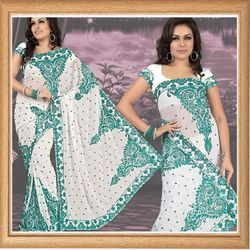 Iaced White Faux Georgette Saree With Blouse