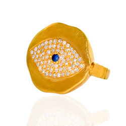 Evil eye shaped Diamond Gold Ring