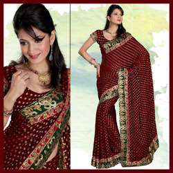 Maroon Viscose Saree With Blouse (154)