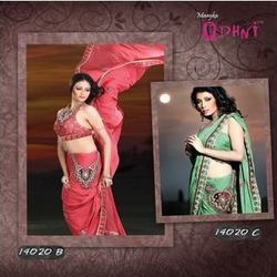 Enchanting Peach Pastel Green Jacquard Saree