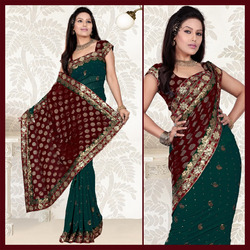Teal Faux Georgette Saree With Blouse (135)