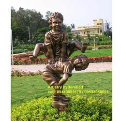 Twin Child Statue At Park