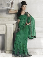Sareegalaxy - Green Net Ready To Wear Saree With Blouse