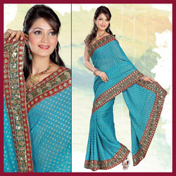 Sky Blue Viscose Saree With Blouse (152)