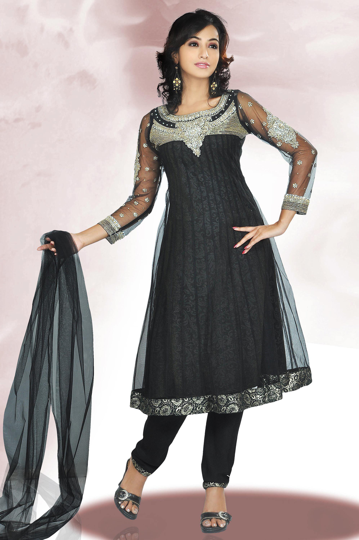 Sareegalaxy - Black Net Churidar Frock Style ...